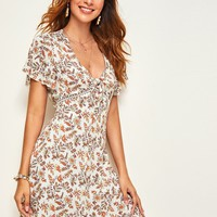 Plunging Knot Front Lace Insert Floral Dress