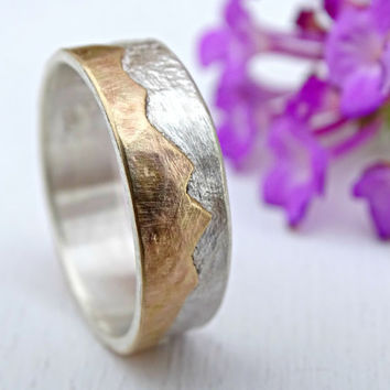 gold mountain range ring, outdoor wedding ring two tone promise ring gold, silver gold wedding band personalized, custom mountain ring men