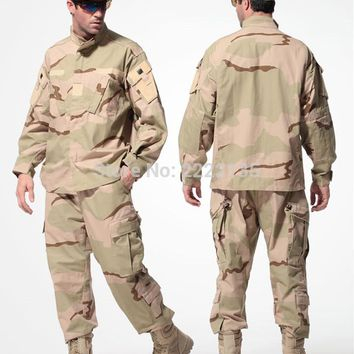 US Army Desert Tactical Military Camouflage Combat Uniform Airsoft Camo BDU Men Clothing Set Outdoor Hunting suits  S-XXXL