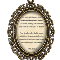 JRR Tolkien Necklace, 'Not all those who wander are lost', JRR Tolkien Quote, Poetry Verse, Poem Necklace