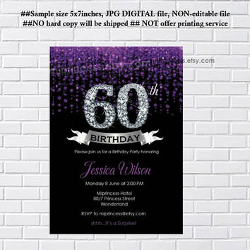 Elegant birthday invitation, glitter elegant invite, birthday , any age 30th 40th 50th 60th 70th 80th 90th invitation - card 299