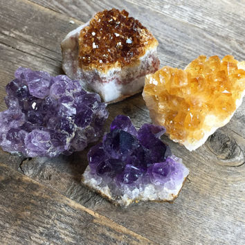 Crystal Duo Amethyst Cluster and Citrine Cluster Decorative Rocks and Geodes Crystal Collection Healing Crystals and Stones Healing Gems