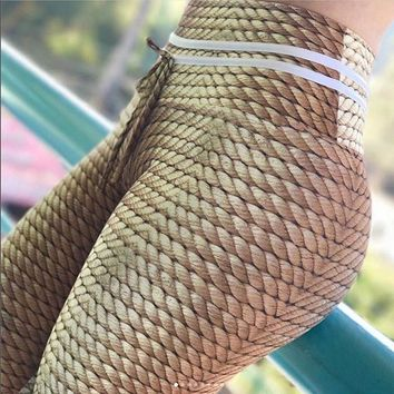 New Original Rope Printing Leggings with 2 White String on Waist and Colorful String
