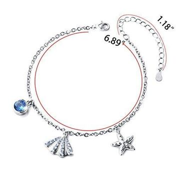 SILVER MOUNTAIN S925 Sterling Silver Ocean Starfish and Seashell Necklace Earring Bracelet