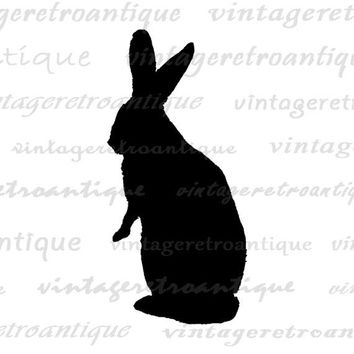 Rabbit Silhouette Digital Printable Graphic Bunny Illustration Image Download Antique Clip Art Jpg Png Eps  HQ 300dpi No.3381