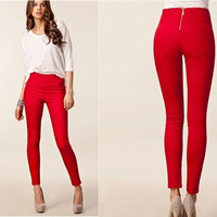 Summer Women Long Pants Casual Trousers Pure Color High Elastic Skinny Slim Pencil Pants = 5709414849