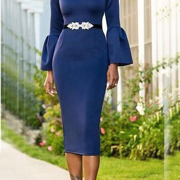 Dark Blue Formal Banquet Round Neck Bell Sleeve Bodycon Elegant Party Midi Dress