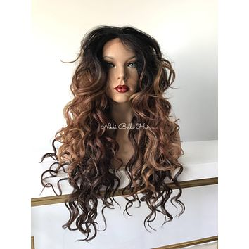 Balayage' Ombre' Carmel Wave hand-tied Multi Parting lace front wig 30'