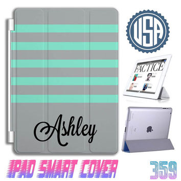 Custom monogram IPad Air Smart Cover personalized IPad mini Case , IPad 4 case  ipad 2 IPhone 5 5S 5C 4S Samsung Galaxy note 3 S5 S4 S3 #357
