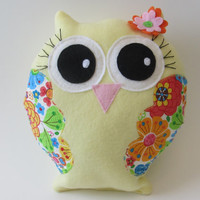 Soft and cuddly, Sunshine yellow fleece, Stuffed Owl with floral cotton wings.