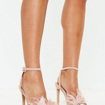 Missguided - Pink Feather Strap Barely There Heels