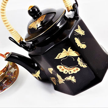 Enesco Black Teapot, Golden Butterflies, Vintage Japan Teapot