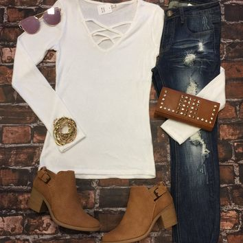 Field of Dreams Sweater Top: White