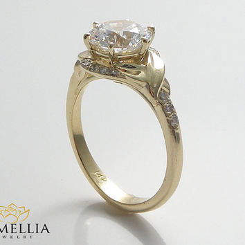 14K Yellow Gold Diamond Engagment Ring,Alternative Wedding Ring,Unique Leaf Ring,Wedding Ring,Art Deco Diamond Ring,Camellia Jewelry Designs