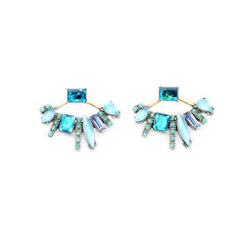 Green Crystal Stud Earrings Fashion Gold Color Crystal Sector Shaped Earrings for Women Jewelry 171129