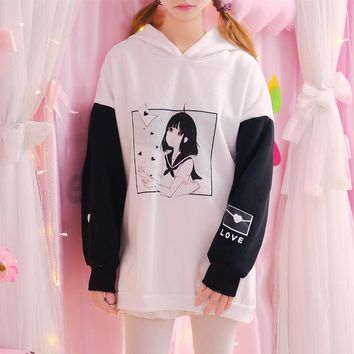 2017 Women Girl Print Patchwork Hooded Hoodies Harajuku Japanese Pullover Girly Girl Kawaii Sweatshirt Ulzzang Dark Girl Jumper
