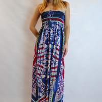(amt) Strapless ethnic print boho maxi dress