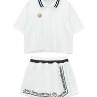 Smiley Patched Polo Shirt and Shorts Set