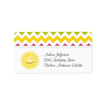 Colorful Chevron and Sunshine Address Labels Address Label