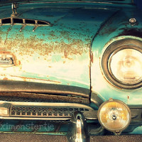 Classic Car Photograph Austin  Blue Green Vintage Car  Fine Art 8x10 by Maximonstertje