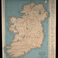 Vintage Map Ireland 1940s Original 1945