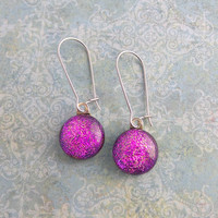 Sparkly Pink Earrings, Kidney Wire Earrings, Modern Trendy Fused Glass Jewelry - Pinky - 414-4