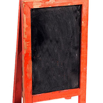 Two Sided Free Standing Wood Frame Chalkboard for Counter - 12-1/2-in Red