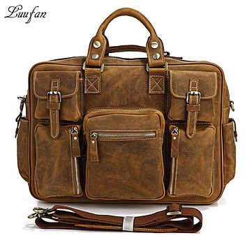 Men's Vintage crazy horse Leather briefcase Real leather Business bag Cow leather Laptop messenger bag Big work tote