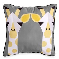 Scribble Giraffe 16-Inch Square Throw Pillow in Yellow