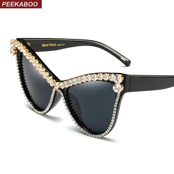Peekaboo oversized rhinestone cat eye sunglasses women 2018 black luxury sun glasses for women cat eye uv400 party