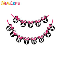 Newlepa Minnie Mouse Happy Birthday Bunting 1 Banner/bag 13 Flags Party Favors Decoration