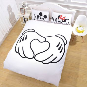 Mickey Mouse Bedding Set Heart Bedding Plain Printed Sheet Set Christmas Gift Soft Home Textiles Bedroom Twin Full Queen