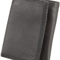 Levi's Men's Leather Trifold Wallet, Black, One Size
