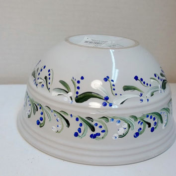 White Stoneware  Bowl Hand Painted Original Scandinavian Design Rosemaling, Swedish Norwegian Folk Art Style