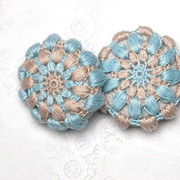 Set of 2 Crochet Covered Stones, Valentine's Day, Lace Stone, Paperweight, Home Decor, Beach Wedding, Blue and Beige
