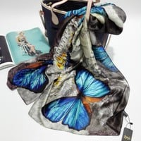 Silk  Wrap With Butterfly Design Scarf/Shawl