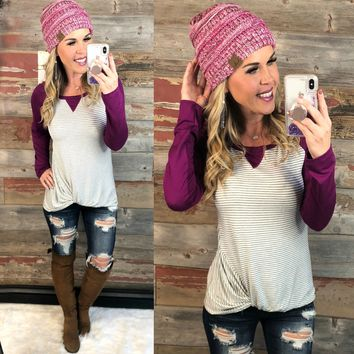 Knot For Now Striped Long Sleeve Top: Berry