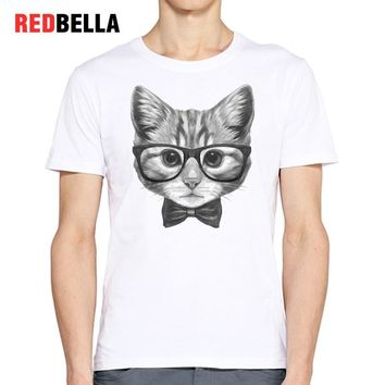 REDBELLA Retro Pattern Men T-shirt 3D Print Vintage Cats Animal Sketch Cool Hipster Casual 100% Cotton Male Tee Shirt Tumblr New