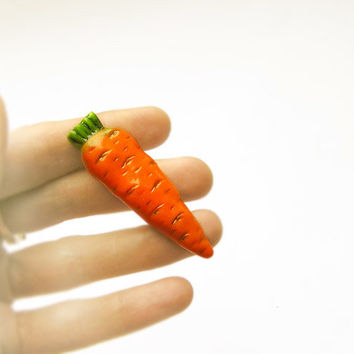 Carrots Brooch handmade, funny bright jewelry, orange colour, for children and adults