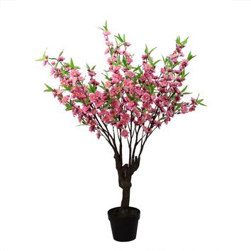 "43.5"" Potted Decorative Artificial Pink  Green and Brown Peach Floral Blossom Tree"