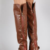 Bamboo Fold Over Cuff Contrast Zipper Studded Riding Knee High Boot