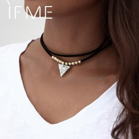 IF ME Fashion Gothic Black Velvet Suede Collars Choker Necklace Jewelry for Women Vintage Faux Stone Triangle Pendant Necklaces