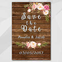 Watercolor Save the Date Card, Rustic wood Card, Custom Save the Date Card, diy wedding, etsy wedding XS002w