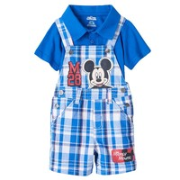 Disney's Mickey Mouse Polo Shirt & Plaid Shortalls Set - Baby Boy, Size: