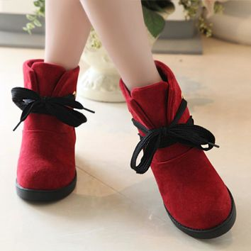 Candy Color Lace Up Round Toe Short Flat Snow Boots