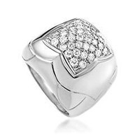 Bulgari Piramide White Gold Diamond Pave Ring