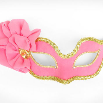 Bright Pink And Gold Masquerade Mask  -  Venetian Style Prom Mask With Fabric Rosette Decoration