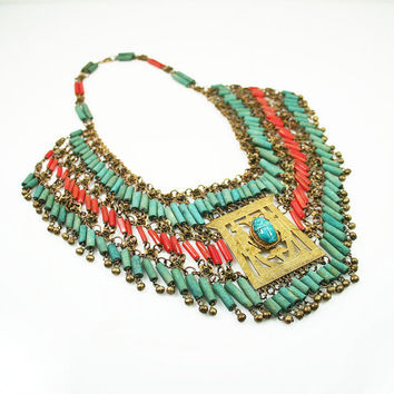 Antique Art Deco Egyptian Revival Faience Mummy Bead Scarab Necklace