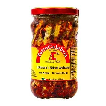 Tutto Calabria Spicy Calabrese Anchovies in Oil, 10.5 oz (300 g)