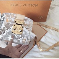 LV Stylish Women Delicate Handbag Bag Transparent Bag Crystal Bag Jelly Bag Makeup Bag Storage Package Metal Buckle I-AGG-CZDL